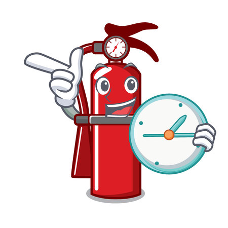 With clock fire extinguisher character cartoon Illustration