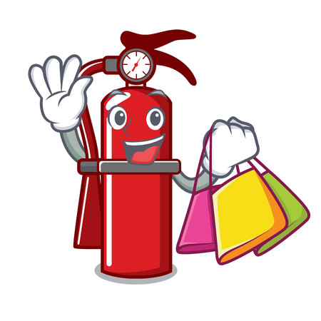 Shopping fire extinguisher character cartoon Illustration