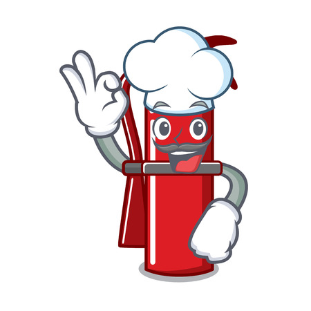 Chef fire extinguisher character cartoon Illustration