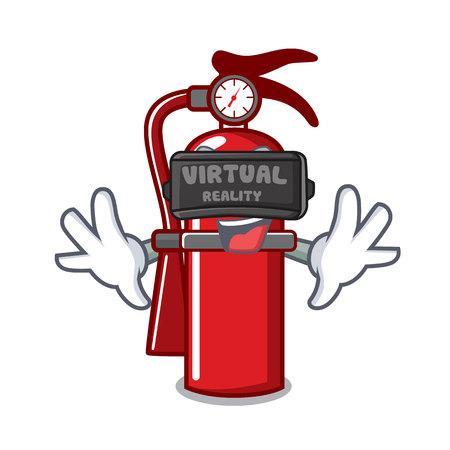 Virtual reality fire extinguisher mascot cartoon