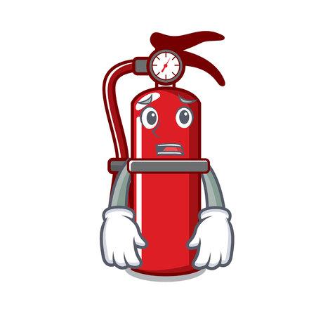 Afraid fire extinguisher mascot cartoon