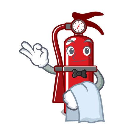 Waiter fire extinguisher mascot cartoon