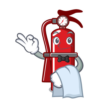 Waiter fire extinguisher mascot cartoon
