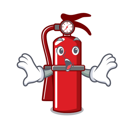 Surprised fire extinguisher mascot cartoon Illustration
