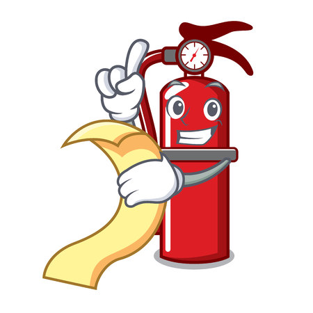 With menu fire extinguisher mascot cartoon