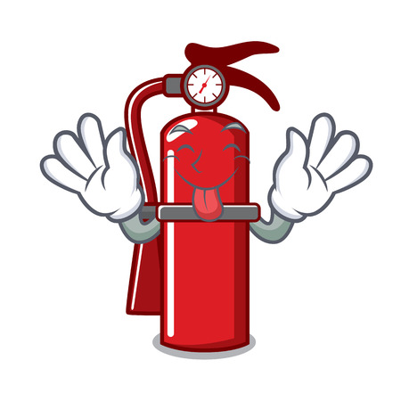 Tongue out fire extinguisher mascot cartoon