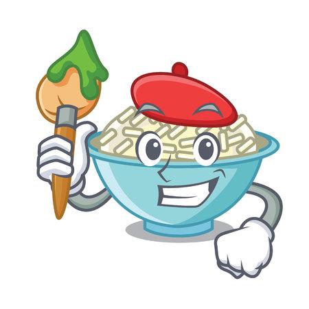 Artist rice bowl character cartoon vector illustration