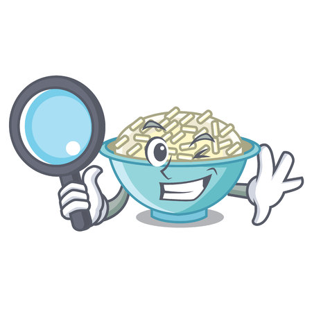 Detective rice bowl character cartoon.
