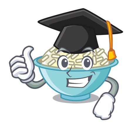 Graduation rice bowl character cartoon vector illustration Illustration