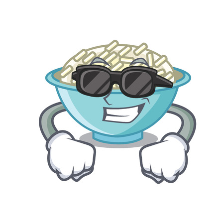 Super cool rice bowl character cartoon vector illustration