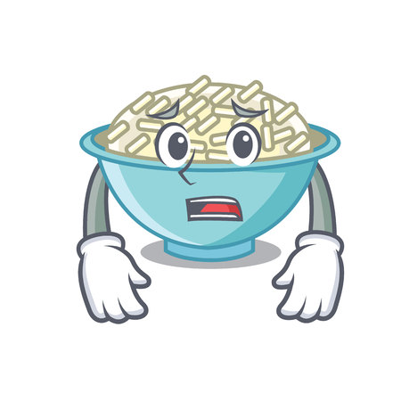 Afraid rice bowl mascot cartoon vector illustration