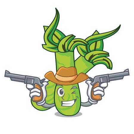 Cowboy wasabi character cartoon style vector illustration Ilustracja