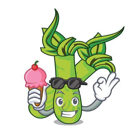 With ice cream wasabi character cartoon style vector illustration Ilustracja