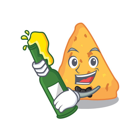 With beer nachos mascot cartoon style vector illustration