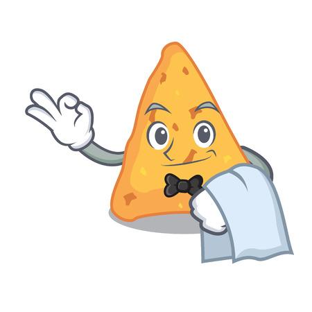 Waiter nachos mascot cartoon style vector illustration