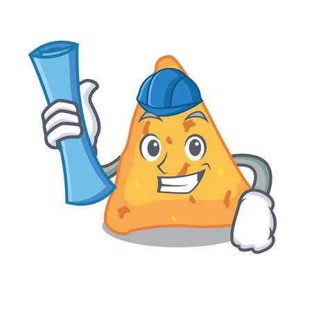 Architect nachos character cartoon style vector illustration