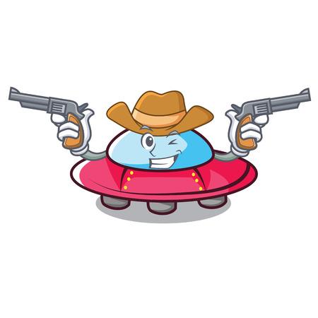 Cowboy ufo character cartoon style