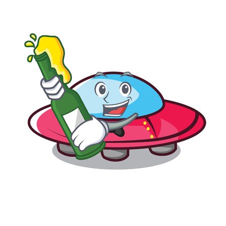 With beer ufo mascot cartoon style vector illustration