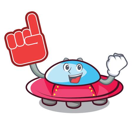 Foam finger ufo mascot cartoon style vector illustration