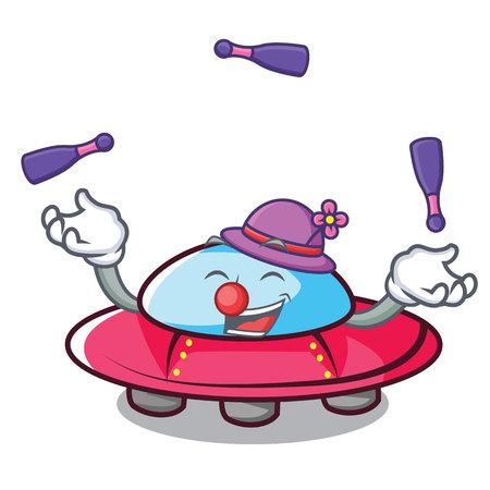 Juggling ufo mascot cartoon style