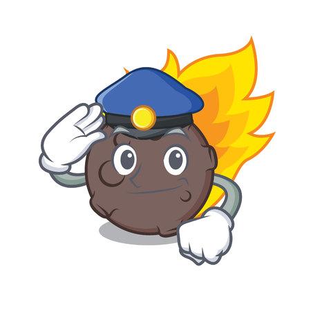 警察隕石キャラクター漫画スタイルのベクトルイラスト