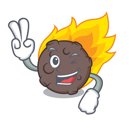 2本指隕石キャラクター漫画スタイルベクターイラスト
