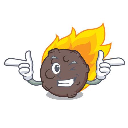 Wink meteorite character cartoon style vector illustration