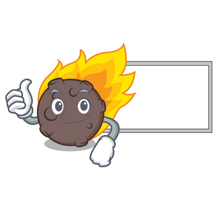 Thumbs up with board meteorite character cartoon style vector illustration