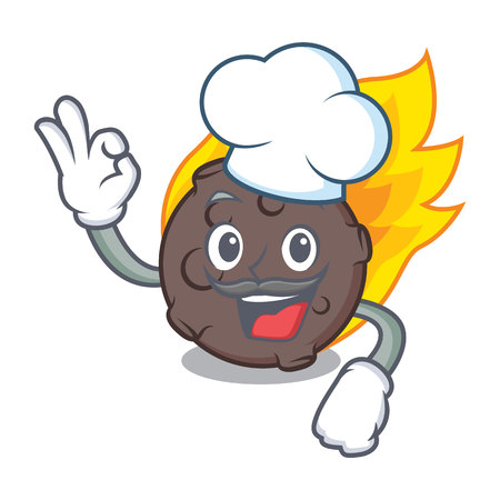 Chef meteorite character cartoon style vector illustration Stock Photo