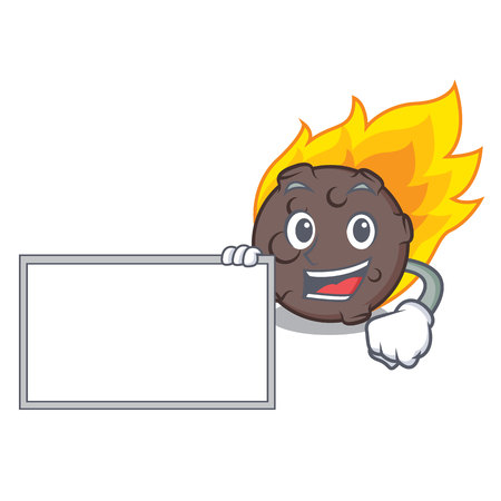With board meteorite character cartoon style vector illustration