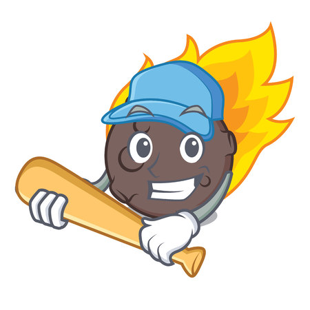 Playing baseball meteorite character cartoon style vector illustration Illustration