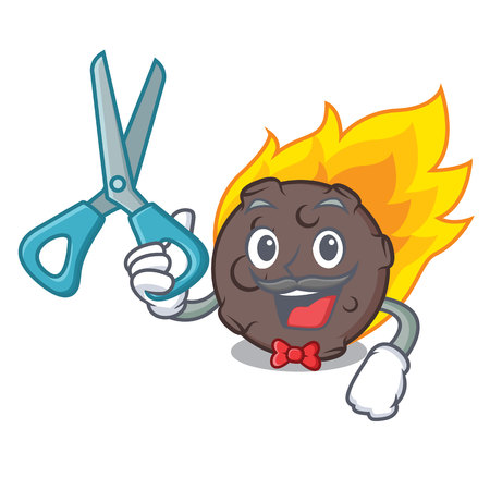 Barber meteorite character cartoon style vector illustration