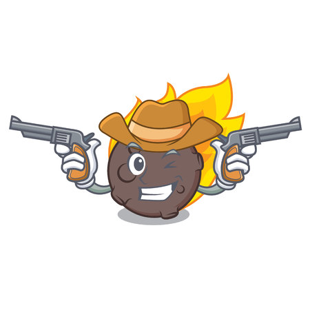 Cowboy meteorite character cartoon style vector illustration