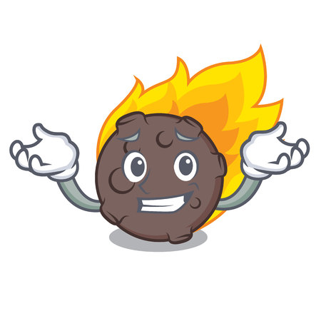 Grinning meteorite character cartoon style vector illustration Illustration