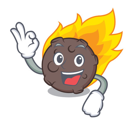 Okay meteorite character cartoon style vector illustration