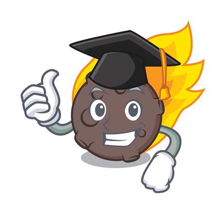 Graduation meteorite character cartoon style vector illustration Stock Photo