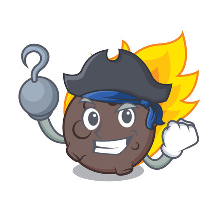 Pirate meteorite character cartoon style vector illustration