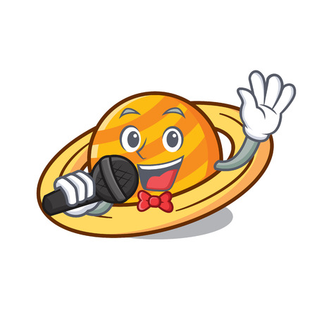 Singing planet saturnus mascot cartoon