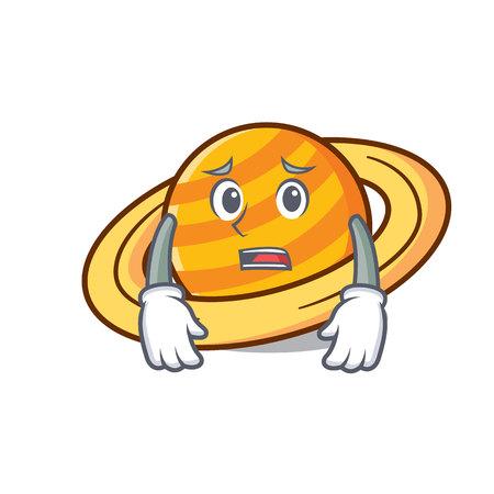 Afraid planet saturnus mascot cartoon