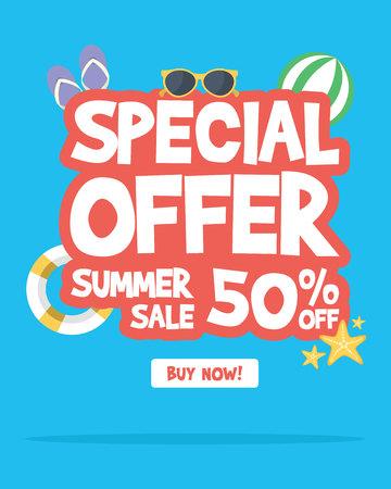 Summer sale banner background layout vector illustration Illustration