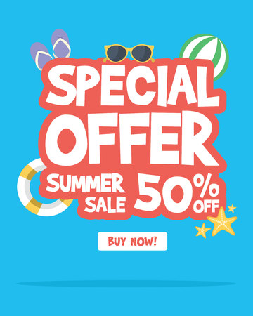 Summer sale banner background layout vector illustration Ilustração