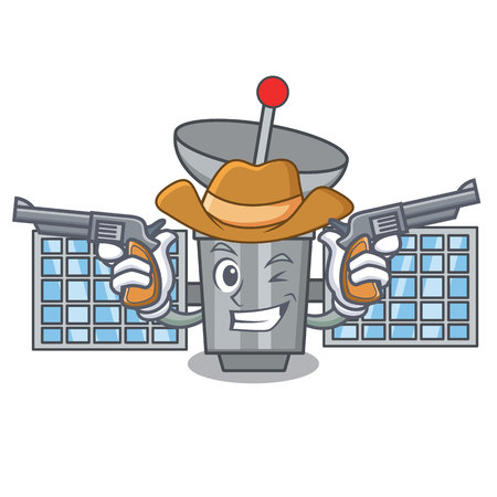 Cowboy satellite character cartoon style Illustration