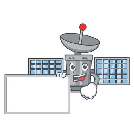 With board satellite character cartoon style vector illustration Illustration
