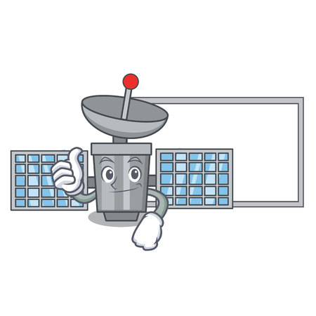 Thumbs up with board satellite character cartoon style vector illustration