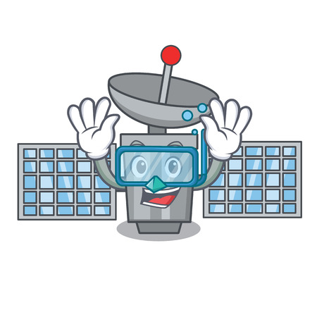 Diving satellite character cartoon style vector illustration