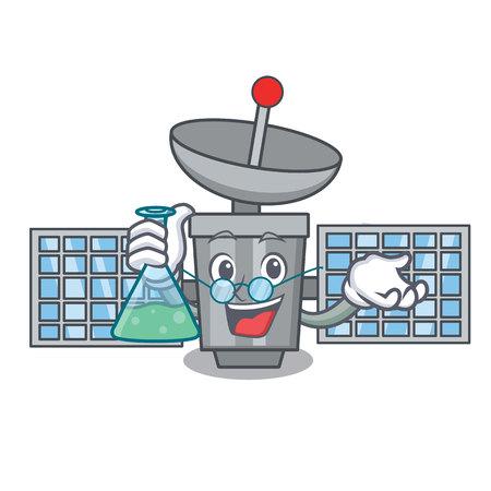 Professor satellite character cartoon style vector illustration