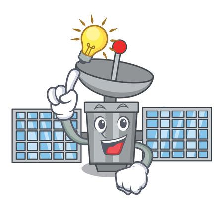 Have an idea satellite mascot cartoon style vector illustration