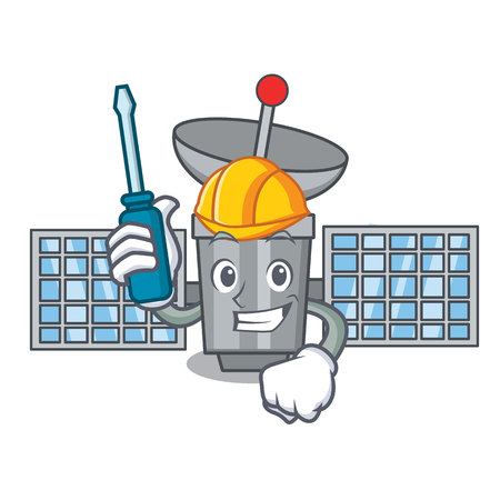 Automotive satellite mascot cartoon style vector illustration Vectores