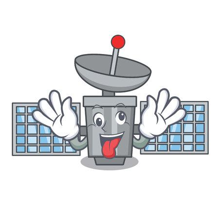 Crazy satellite mascot cartoon style vector illustration