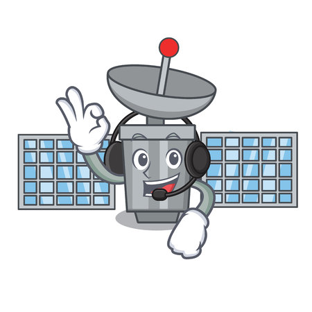 Wearing headphone satellite mascot cartoon style. Иллюстрация